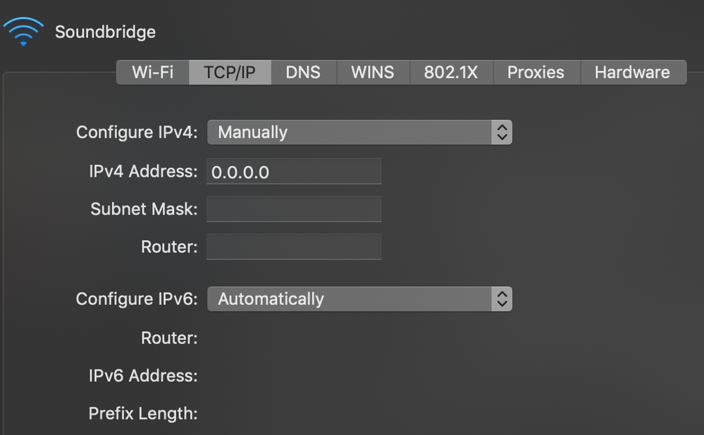 The preferences panel on my Mac Network Settings