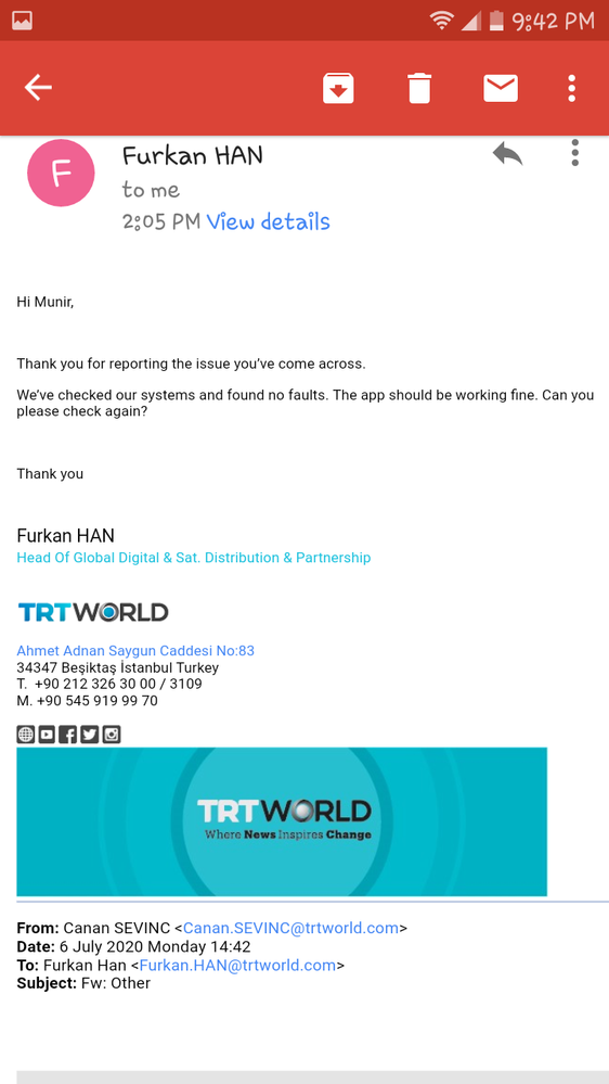 Email received from TRT WORLD