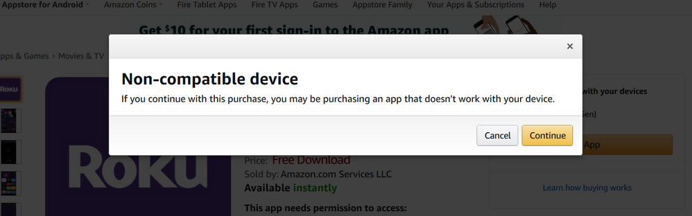 Amazon Store - Roku Msg.PNG