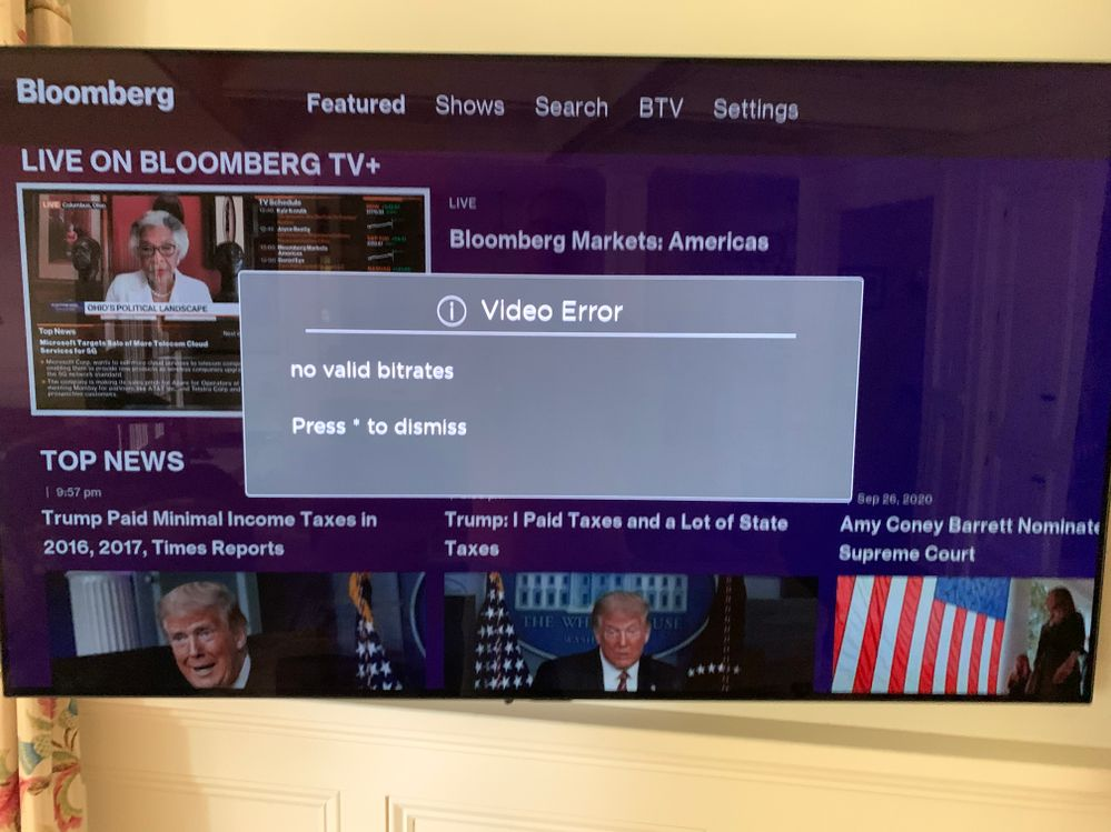 Bloomberg TV Video Error Message