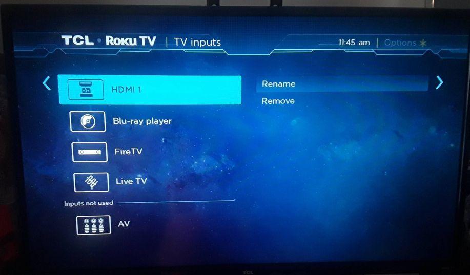 TV inputs menu