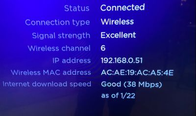 Excellent signal strength at 38 Mbps