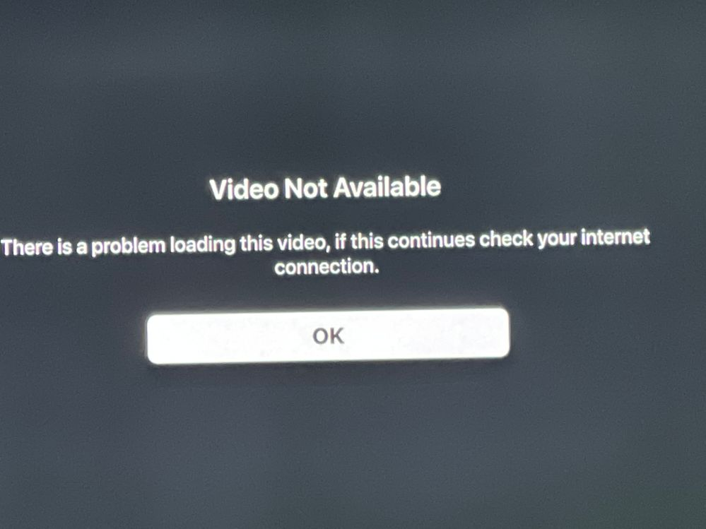 This is the error message I get with Apple TV+ all when I click on a program