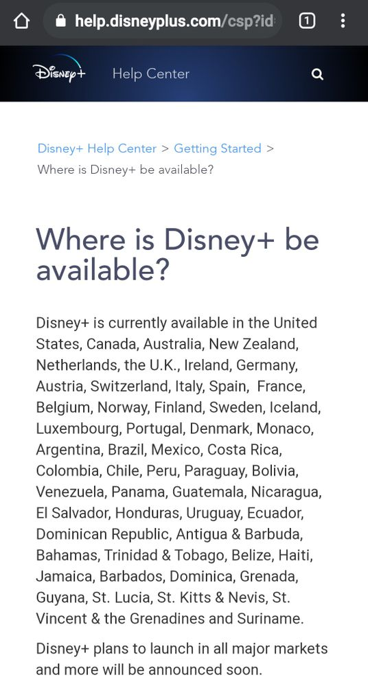List of countries where Disney+ is available