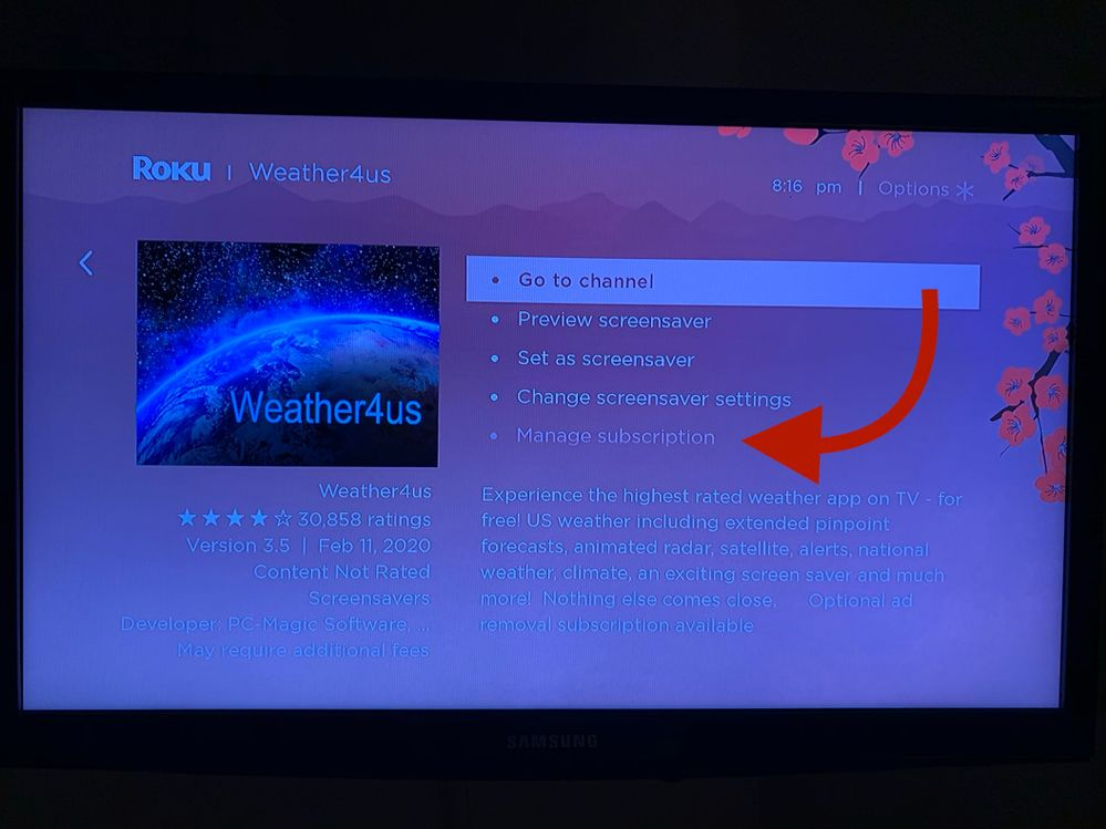 Where is says Manage, it says for a second, remove channel.